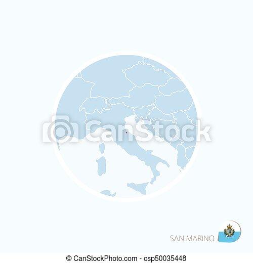 San Marino Mapa Europa.Icono Del Mapa De San Marino Un Mapa Azul De Europa Con San