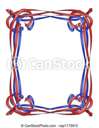 Azul, marco, cinta roja. Espacio, cintas, ilustrado, plano de fondo ...
