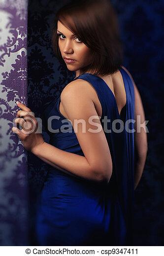 azul, menina, vestido - csp9347411