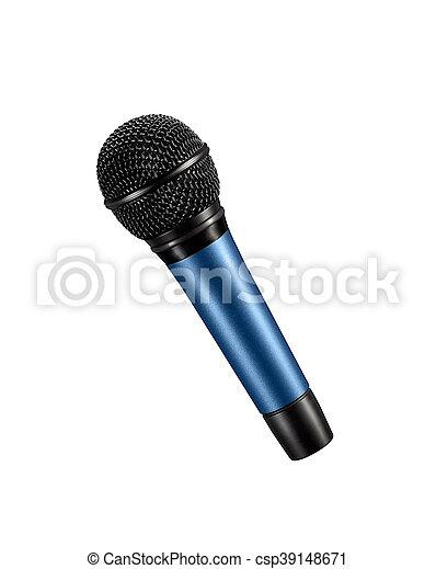 Un micrófono azul con alambre negro aislado en blanco - csp39148671