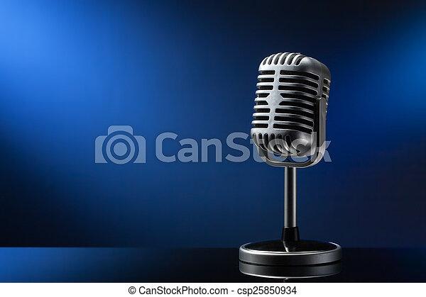 azul, microfone, retro - csp25850934
