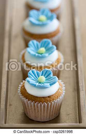 Azul Mini Flor Cupcakes Azul Mini Cupcakes Acucar Decorado