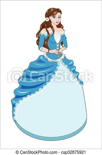 Azul Morena Vestido Princesa Azul Marrón Grande Pelo
