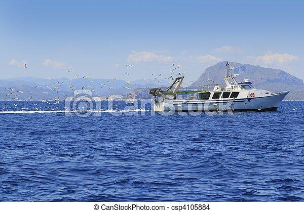 azul, muitos, gaivotas, oceânicos, profissional, fisherboat - csp4105884