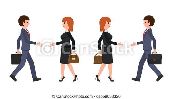 Hombre de negocios con traje azul oscuro y mujer de negocios con traje negro estrechando manos - csp59053326