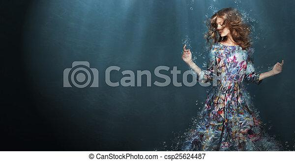 azul, mujer, immersion., profundo, fantasía, sea. - csp25624487