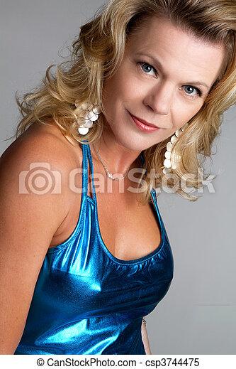 azul, mulher, vestido - csp3744475