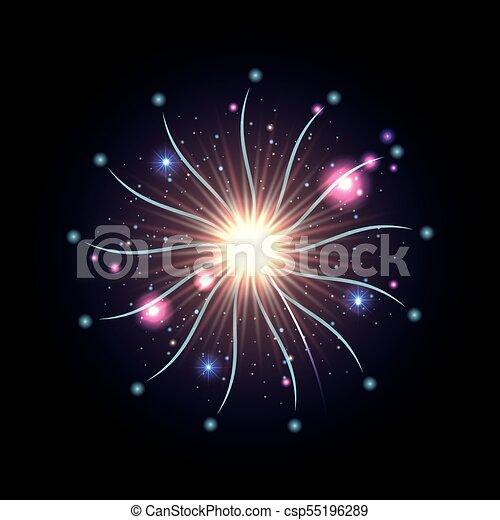 Fuegos artificiales estallando en brillantes destellos blancos y azules sobre fondo negro - csp55196289