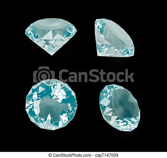 Diamantes azules aislados en negro - csp7147009