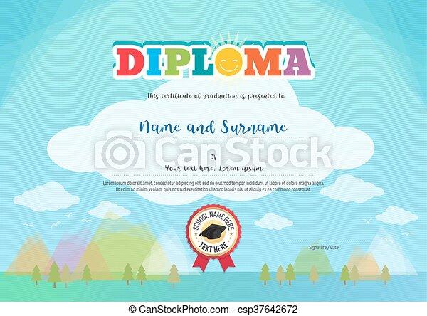 azul, niños, colorido, certificado, diploma, brillante, elementos, plano de fondo - csp37642672