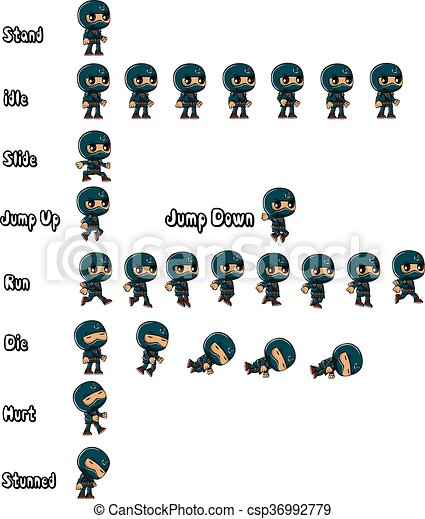 Guerra ninja azul - csp36992779