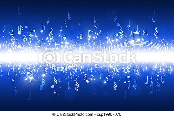 azul, notas, música, plano de fondo - csp19907070
