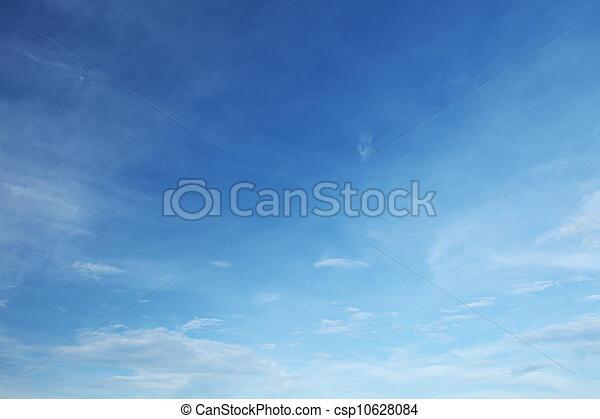 azul, nuvens, céu branco - csp10628084