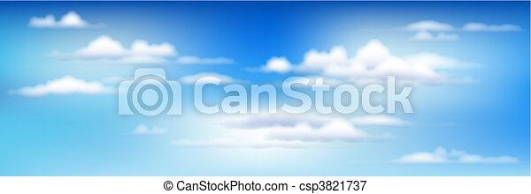 azul, nuvens, céu - csp3821737