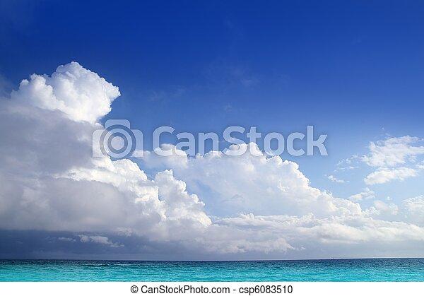 azul, nuvens, mar, aqua, céu, horizonte, caraíbas - csp6083510