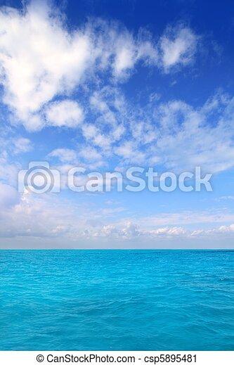 azul, nuvens, mar, méxico, céu, horizonte, caraíbas - csp5895481