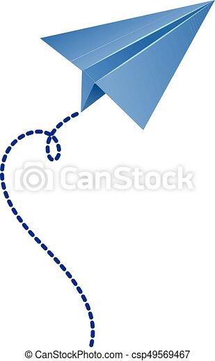 Azul, origami, color de avión. Azul, color, avión, ilustración, origami.