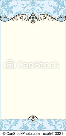 azul, ornamental, quadro, vetorial, em branco - csp5413321