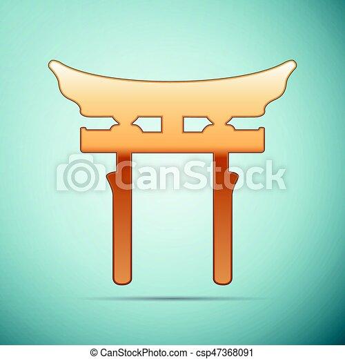 Puerta dorada de Japón. Ícono de Torii en el fondo azul. Ilustración de vectores - csp47368091