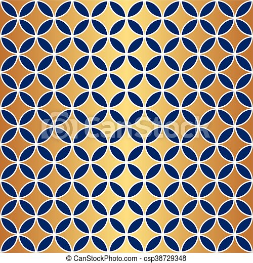 Un círculo azul de oro sin costura - csp38729348