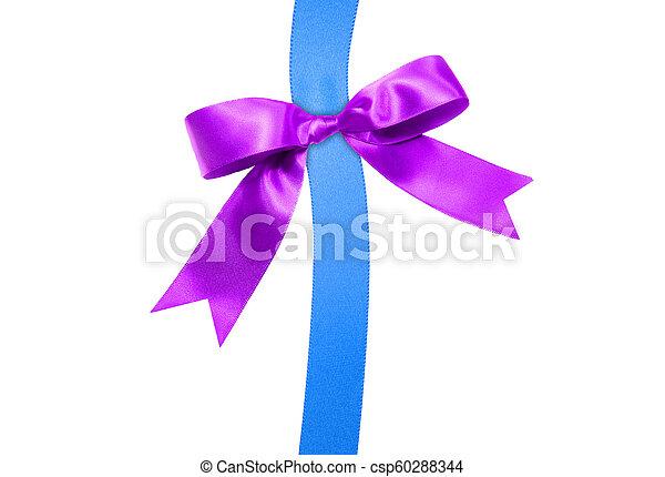 Lazo azul con lazo morado en blanco - csp60288344
