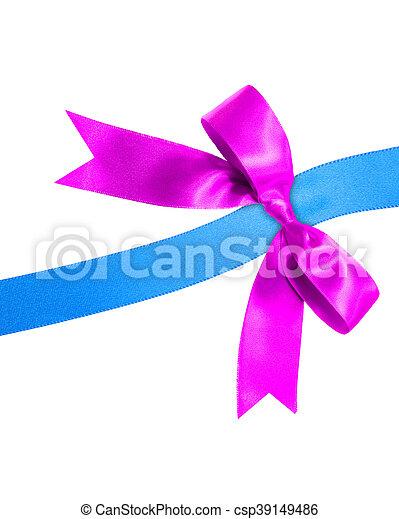 Lazo azul con lazo morado en blanco - csp39149486
