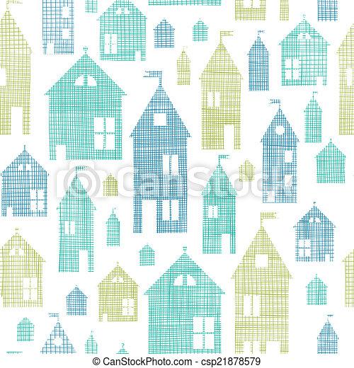 azul, padrão, seamless, textura, têxtil, casas, experiência verde - csp21878579