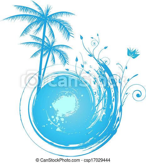 azul, palma, grunge, redondo, fundo - csp17029444