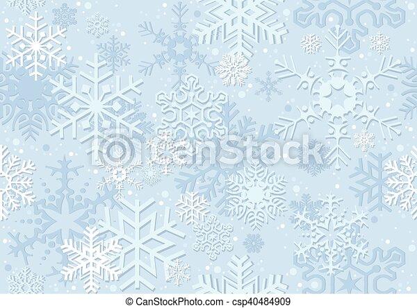 azul, papel, natal, snowflake - csp40484909