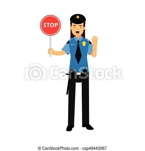 El personaje de la policía con un uniforme azul que muestra el vector de Ilustración de Stop - csp49443067