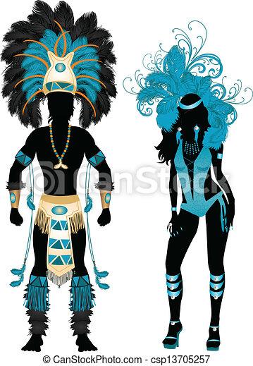 Carnaval silueta azul - csp13705257