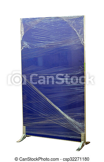 Un tablero de partición azul oscuro envuelto con plástico. - csp32271180
