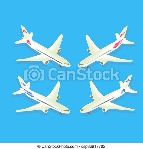 azul, passageiro, civil, aircraft., isolado, ilustração, experiência., vetorial, aviation., avião - csp36917782