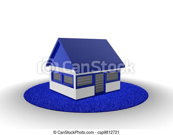 A casa en la hierba azul - csp9812721