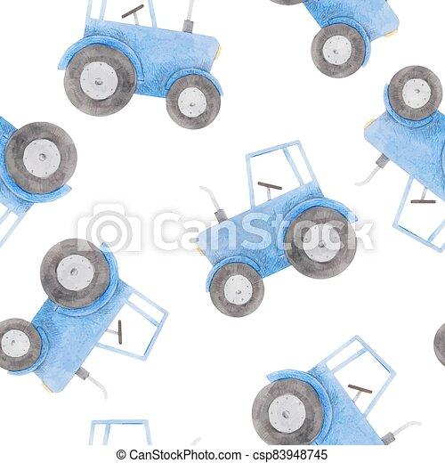 azul, patrón, hermoso, tractor., acuarela, illustration., seamless, acción - csp83948745