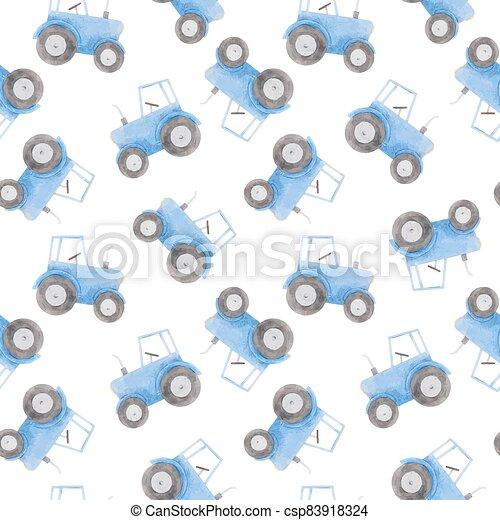 azul, patrón, hermoso, tractor., acuarela, illustration., seamless, acción - csp83918324