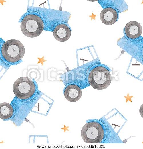 azul, patrón, hermoso, tractor., acuarela, illustration., seamless, acción - csp83918325