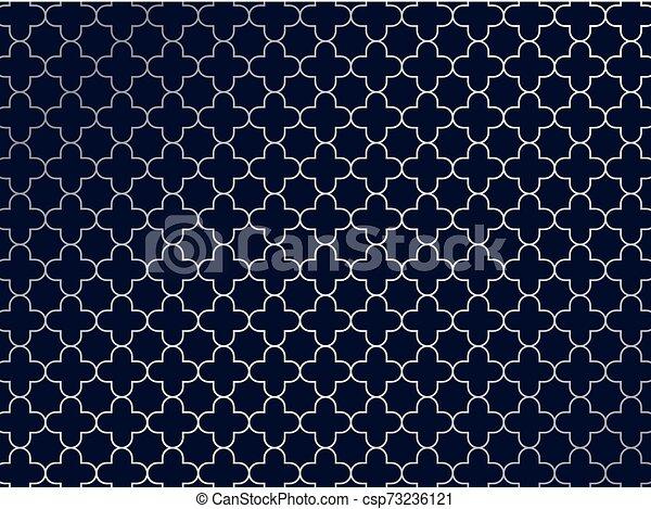 Un patrón de moroccan de plata abstracto en el fondo azul. - csp73236121
