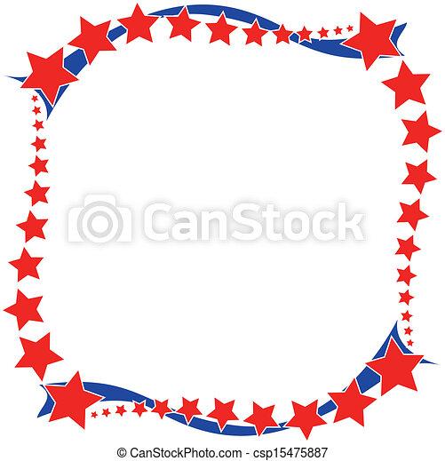 Blanco rojo y azul marco patriótico - csp15475887