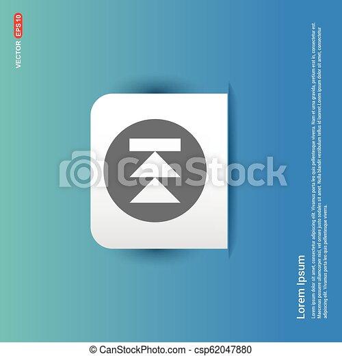 Ícono delantero, botón de etiqueta azul - csp62047880
