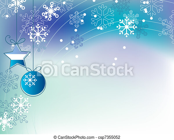 Un elegante fondo azul navideño con pelotas colgando - csp7355052