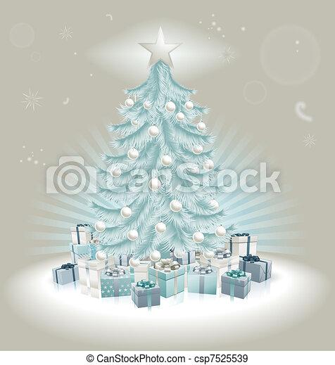 Árbol de Navidad azul plateado, pelotas y regalos - csp7525539