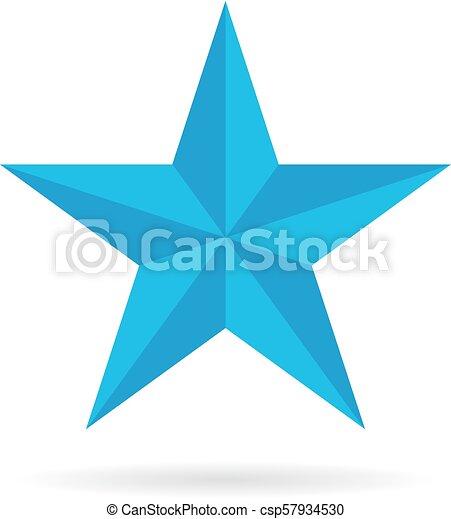 azul, pentagonal, estrela, ícone - csp57934530