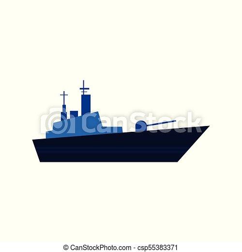 Azul, plano, estilo, buque de guerra, acorazado, vector, icono. Azul ...