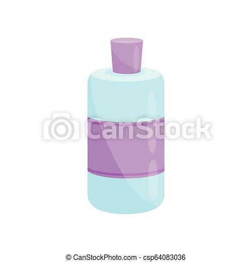 Botella de quita uñas de plástico azul con etiqueta púrpura y tapa. Producto cosmético. Tema de belleza. Icono vector plano - csp64083036