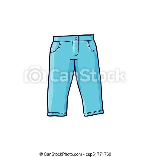 e124c118d azul, plano, vector, tela vaquera, pulóver, vaqueros, tibio