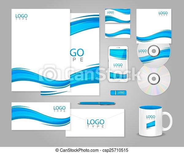 Azul, plantilla, ondas, blanco, identidad corporativa. Azul, estilo ...