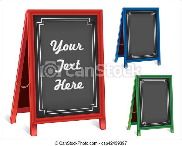 Señales, pizarra doblando caballetes de la acera, rojo, verde, marcos azules - csp42439397