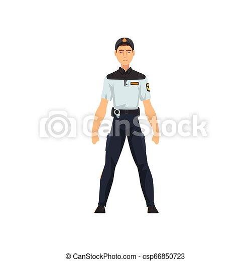 Oficial de seguridad profesional, policía con ilustración de vectores azul uniforme - csp66850723