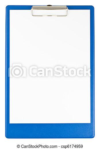 Un portapapeles azul y papel - csp6174959